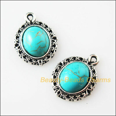 12 New Retro Charms Tibetan Silver Turquoise Oval Flower Pendants 13.5x18mm
