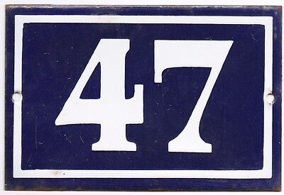 Old blue French house number door gate plate plaque enamel steel metal sign 47