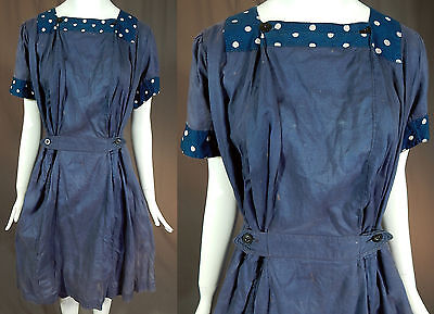 Edwardian Swim Easy Swimsuit Blue Polka Dot Cotton Bathing Dress Bloomers Vtg