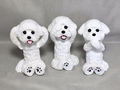 Handsculpted Clay Bichon Frise Dog  3 Dogs Hear See Speak No Evil Sculpture