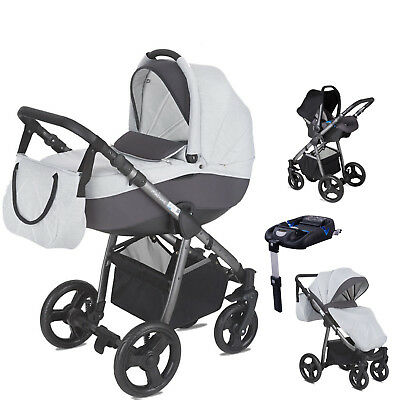 Mini Uno Grey Stride Travel System Pushchair Car Seat Carrycot & Isofix Base