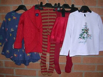 Mainly NEXT Girls Christmas Bundle Dresses Tops Skirt Tights Age 18-24m