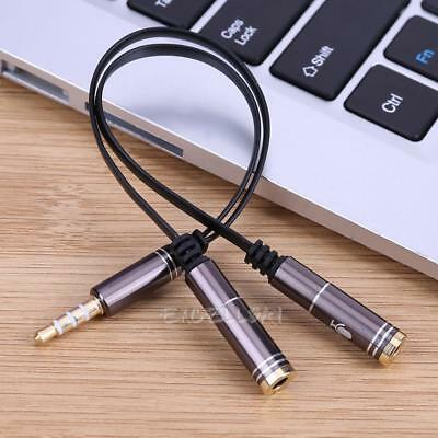 3.5mm Stereo Audio Male to Dual Female Headphone Mic Y Splitter Cable Cord Wire