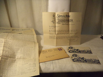 ANTIQUE Tags & Letter STEERS MENKE  West Washington Market NEW YORK Dated 1937