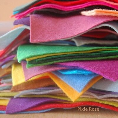 Pack of Wool Blend Felt Pieces / Offcuts | 14 - 16 pieces of felt per pack | 50g