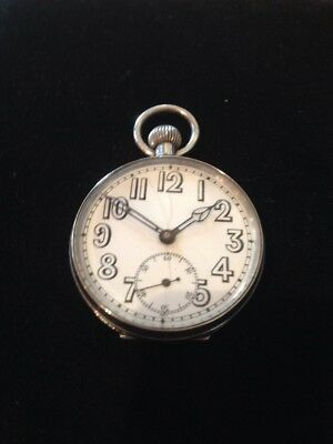 Antique Silver Pocket Watch WW1 1915 Made By DF&C Cleaned & Serviced