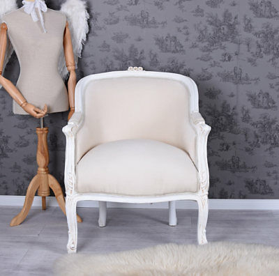 Fauteuil Shabby Chic Rococo Chaise Blanc Louis Xv Exclusive
