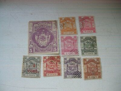 North Borneo 9 stamps 1/2c-5c with 1 O/P 1 cent and large stamp 5dollars all FU