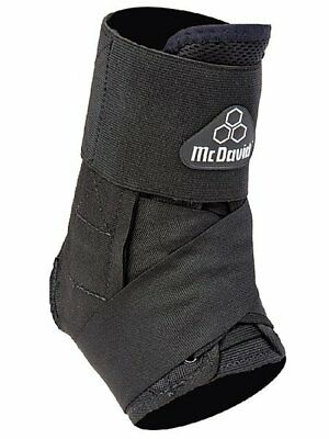 McDavid 195T Lightweight Ankle Brace w/ Straps Black Injury Support White Logo