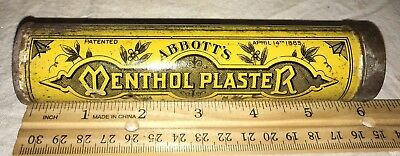 Antique Early Abbott Menthol Plaster Tin Litho Can Medicine Boston Ma Apothecary
