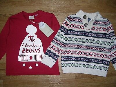 ZARA BOWN & WRIGHT Two Boys Christmas Jumpers Top Red Santa Reindeer  Age 18-24m