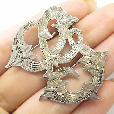 Vtg Mexico 925 Sterling Silver Floral Swirls Openwork Pin Brooch