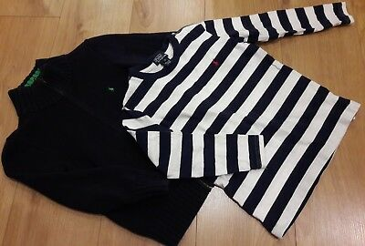 Boys Age 6 Ralph Lauren bundle stripe top and zip jumper- great condition