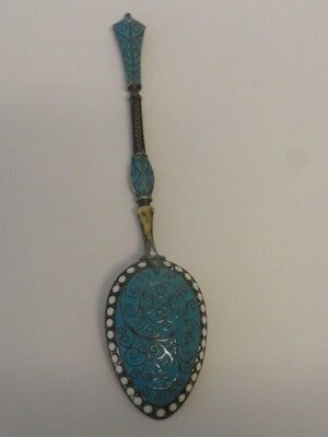 Antique Norwegian silver cloisonne enamel spoon, from Norway. Length-4.25 inches