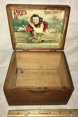 Antique Rices Flower Seed Wood Garden Box Cambridge Valley Ny Victorian Girl Old