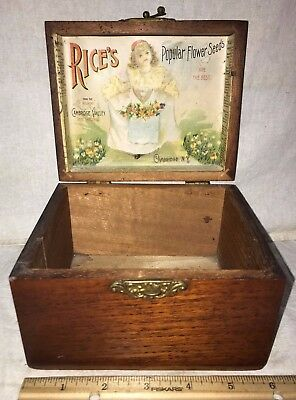 Antique Rices Flower Seed Wood Garden Box Cambridge Ny Victorian Girl Dress Old
