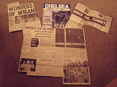 Chelsea V Wigan Athletic 79/80 FA Cup Programme + 3 Newspaper Reports.