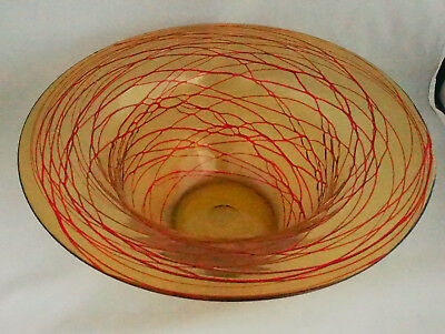 Gorgeous Antique Gold Red Threaded Glass Hand Blown Huge Bowl Kralik Konig 13""