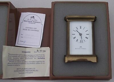 MATTHEW NORMAN 8--DAY BRASS CARRIAGE CLOCK SWISS MADE No1754 ORIGINAL BOX