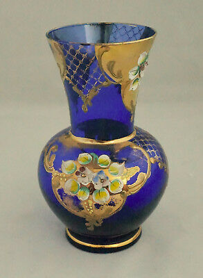 Lovely Vintage Bohemian Czech Cobalt Blue Art Glass Vase Enamel Flowers GOLD
