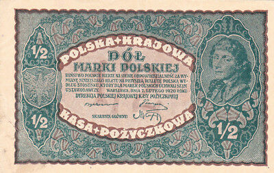 1/2 Marki Very Fine Crispy Banknote From Poland 1920!pick-30