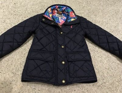 Joules Girls Quilted Coat, Age 4 Years, Blue With Floral Lining, Excellent.