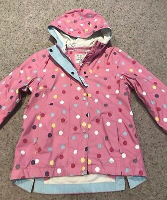 Joules Girls Coat, Age 7 Years, Pink Polka Dot, In Very Good Condition.