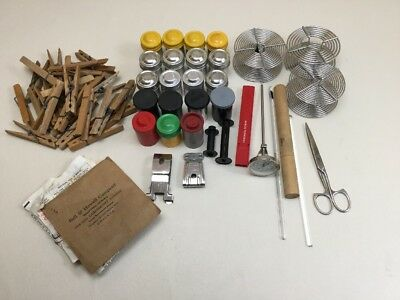 Vintage Lot Dark Room Developer Items Canisters Thermometers More
