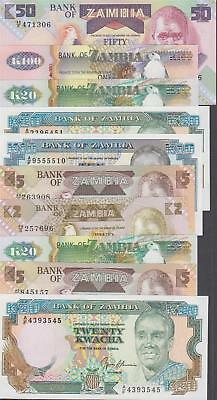 10 Banknotes from Zambia All Uncirculated