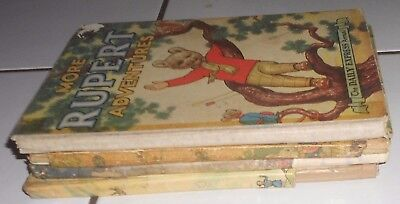 4 Rupert The  Bears Annuals , Poor Condition , 1950S / 1960S , Readers Lot