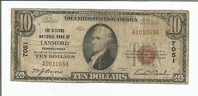 1929 $10 Lansford National Bank Currency