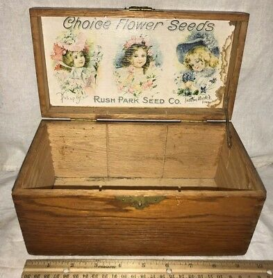 Antique Rush Park Flower Seed Wood Garden Box Independence Ia Victorian Girls
