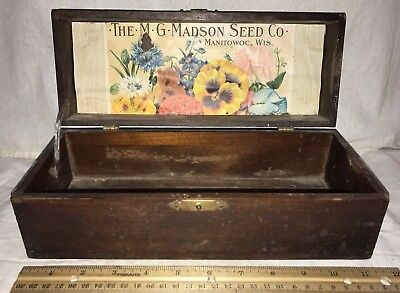 Antique Mg Madson Flower Seed Wood Box Vintage Garden Manitowoc Wi Country Store