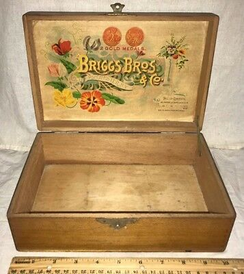 Antique Briggs Rochester Ny Flower Seed Packet Box Vintage Garden Country Store
