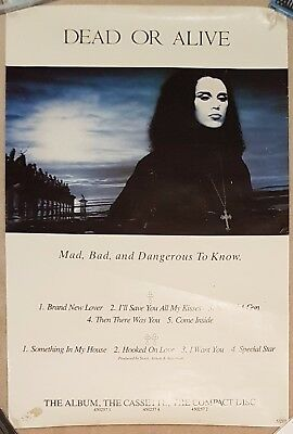 Dead Or Alive Mad, Bad And Dangerous To Know Original 1986 Promo Poster RARE
