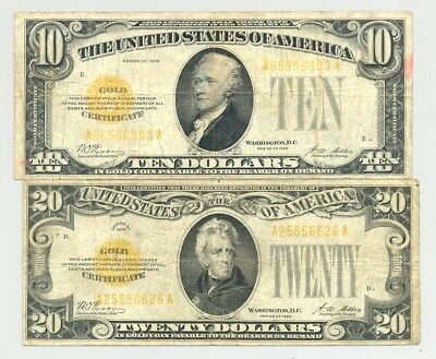 $10 and $20 Series 1928 Gold Certificate in nice circulated condition no reserve