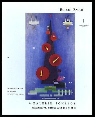 1988 Rudolf Bauer Yellow Accents 1937 painting Swiss art gallery print ad
