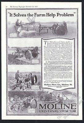 1918 Moline tractor farm farmer 4 photo vintage print ad