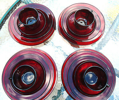 20 pc RUBY RED Glass Dishes Arcoroc France 4 Place Setting dinner soup salad c&s