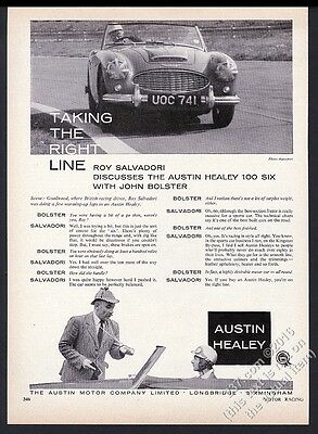 1957 Austin-Healey 100-6 race car Roy Salvadori photo vintage print ad