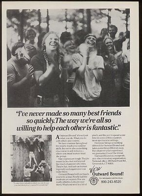 1985 Outward Bound friendly campers photo vintage print ad