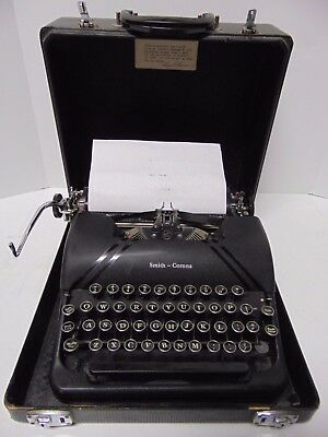 Vintage 1946 Smith Corona Sterling Typewriter 4A Model Serial Number A4204365