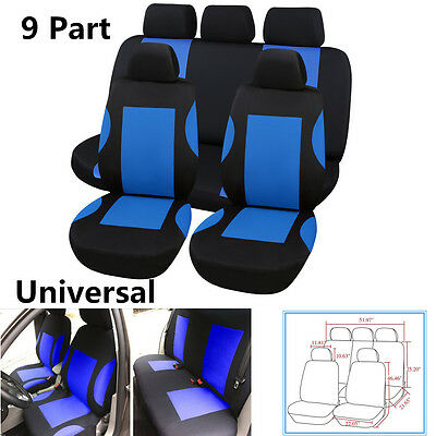 9Pcs Polyester Breathable Car Seat Covers Set For Car Front Rear Seats Headrests