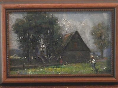 OLD Antique Fine Art Impressionist OIL PAINTING original 19th Century artwork