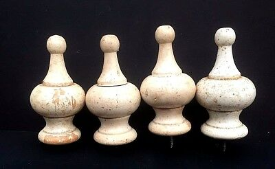 """Set Of Four Antique Salvage Architectural Painted Wood Finials...4"""" in length"""