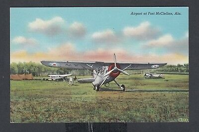 USA 1950's AIRPORT AT FORT McCLELLAN ALABAMA CURTEICH LINEN POSTCARD UNUSED