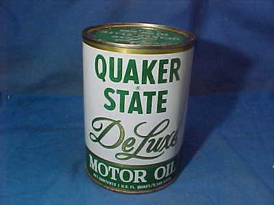 1960s QUAKER STATE DeLUXE Gas Station 1 qt MOTOR OIL Advertising TIN