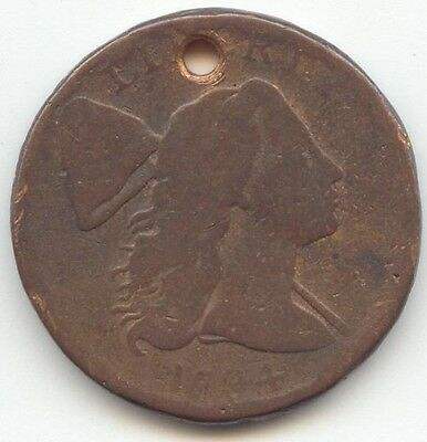 1794 Liberty Cap Large Cent, AG, Hole