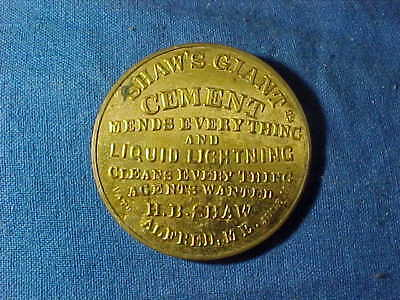 Late 19thc SHAWS GIANT CEMENT Brass Advertising POCKET MIRROR