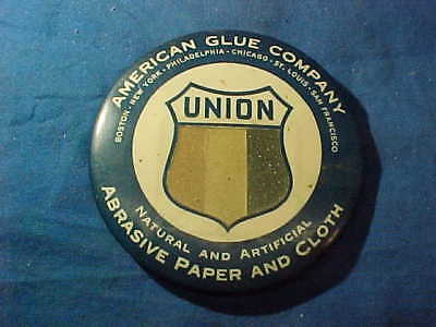 1920s AMERICAN GLUE Co ABRASIVE PAPER + CLOTH Advertising POCKET MIRROR